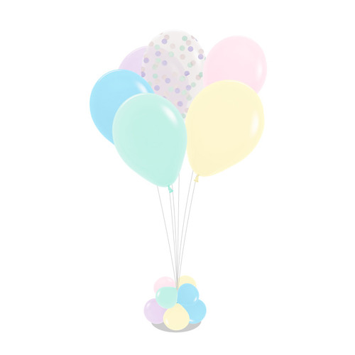 Colorful Pastel Matte Round Confettis 105cm tall Balloon Stand - Macaron Color