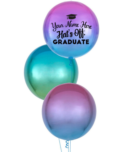 Personalised Name Hat's Off Graduate Orbz Balloons Bouquet