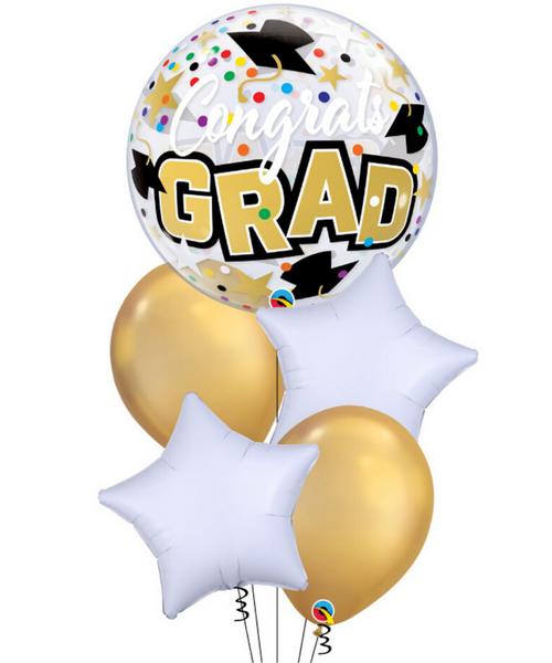 [Graduation] Yay Congrats Grad Star Dots and Colourful Confetti Bubble Balloons Bouquet