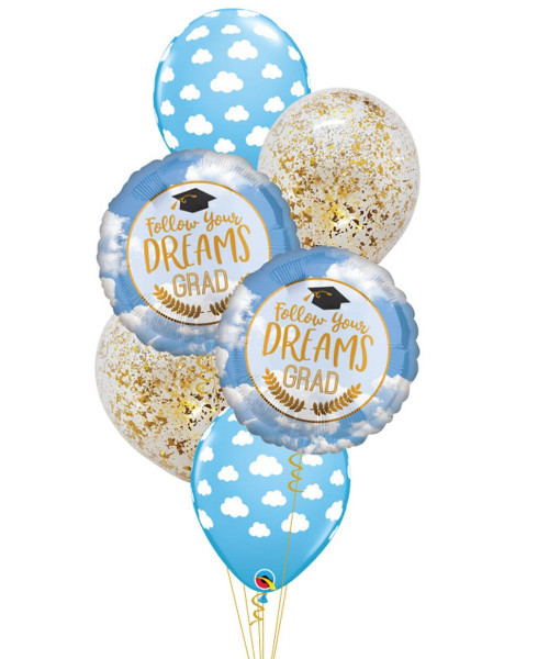 Follow Your Dreams Grad Cloud & Confettis Balloons Bouquet