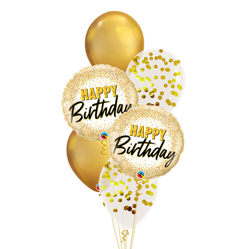 Birthday Gold Glitter Dots Chrome Balloon Bouquet