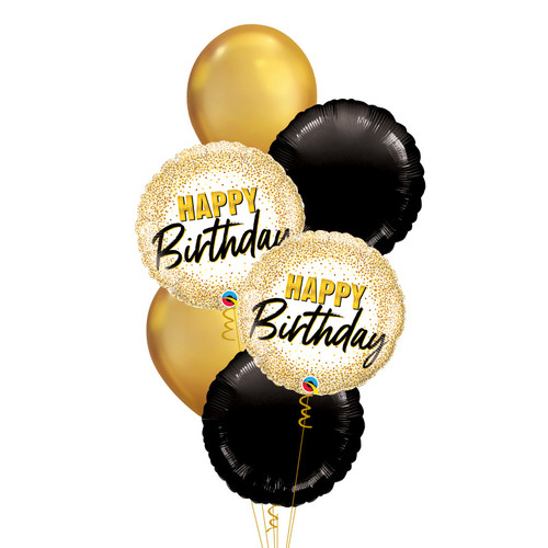 Birthday Gold Glitter Dots Glamorous Balloons Bouquet