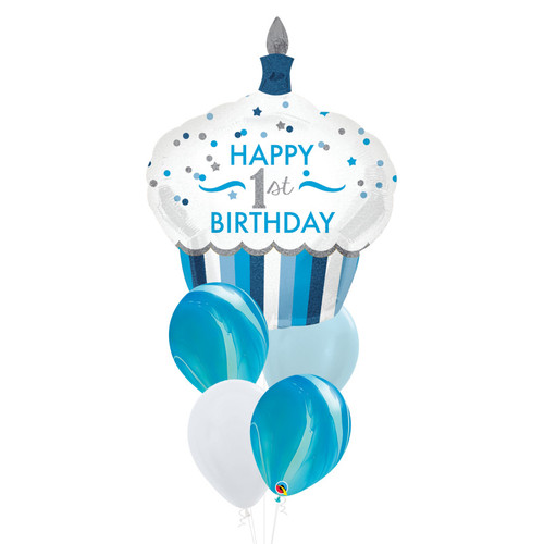 [Party] Happy 1st Birthday Cupcake  Ocean Marble Balloons Bouquet