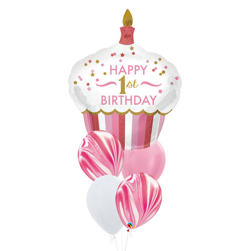 [Party] Happy 1st  Birthday Cupcake Girl Strawberry Marble Balloons Bouquet