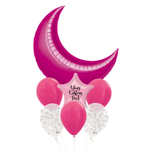 Personalised Star Giant Crescent Moon Balloons Bouquet - Metallic Fuchsia