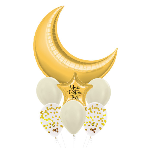 Personalised Star Giant Crescent Moon Balloons Bouquet - Metallic Gold
