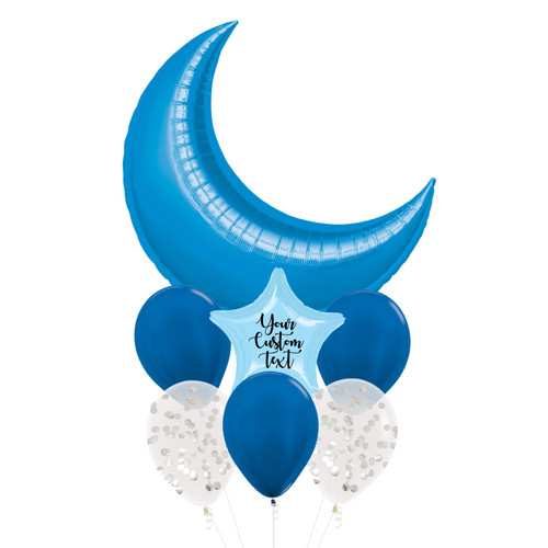 Personalised Star Giant Crescent Moon Balloons Bouquet - Metallic Blue