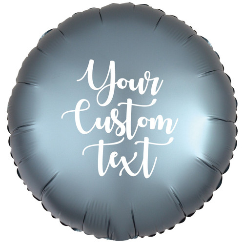 "18"" Personalised Satin Luxe Round Foil Balloon - Steel Blue"