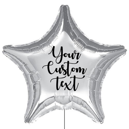 "32"" Personalised Giant Star Foil Balloon - Metallic Silver"