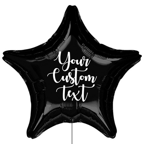 Personalised Giant Star Foil Balloon - Metallic Black