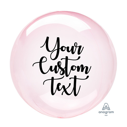 "18"" Personalised Colored Crystal Clearz Bubble Balloon - Dark Pink"