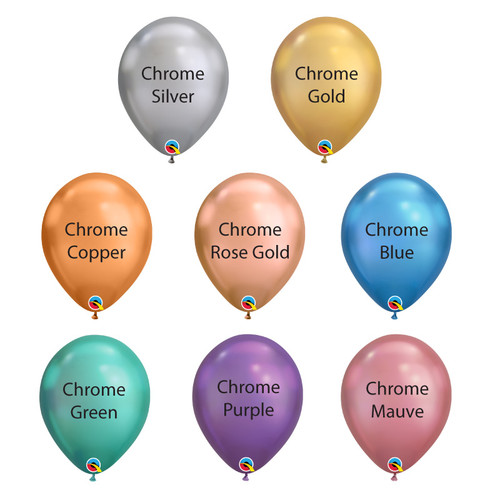 "7"" Mini Chrome Round Latex Balloons (8 Colors)"