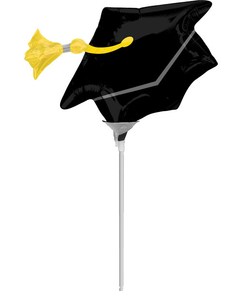 [Graduation Balloon on Stick] Black Grad Cap Foil Balloon with stick (9inch)