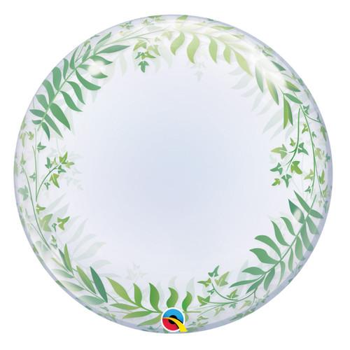 "24"" Crystal Clear Transparent Elegant Greenery Printed Balloon"