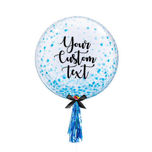 "24""  Personalised Crystal Clear Transparent Confetti Dots Printed Balloon - Blue Confetti Dots"