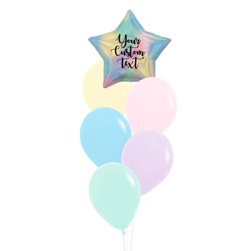 Personalised Iridescent Star Pastel Rainbow Balloons Bouquet