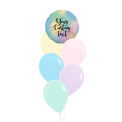 Personalised Iridescent Round Pastel Rainbow Balloons Bouquet