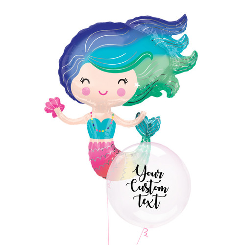 Personalised Mermaid Crystal Clearz Balloon Bouquet
