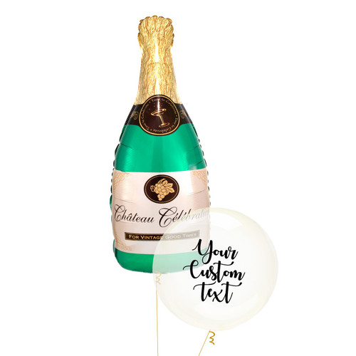 Personalised Champagne Crystal Clearz Balloon Bouquet