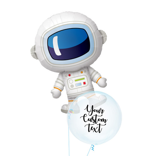 [Astronaut/Space] Adorable Astronaut Personalised Crystal Clearz Balloon Bouquet