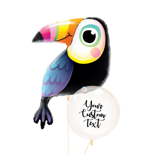 Personalised Colorful Toucan Crystal Clearz Balloon Bouquet