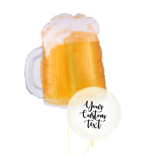 Personalised Beer Mug Crystal Clearz Balloon Bouquet