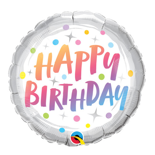 Happy Birthday Rainbow Dots Foil Balloon (18inch)