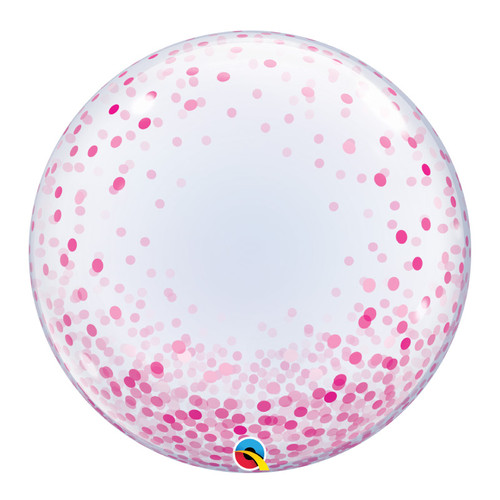 "24"" Crystal Clear Transparent Confetti Dots Printed Balloon - Pink Confetti Dots"