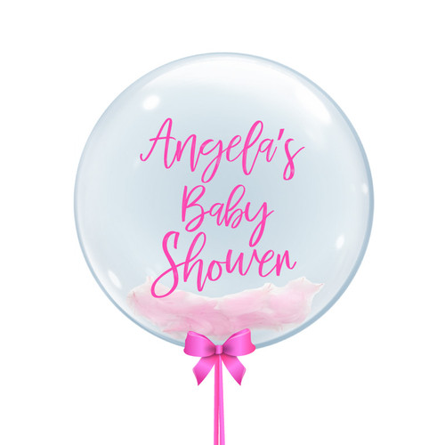 "24"" Personalised Baby Shower Themed Crystal Clear Feather Balloon - Baby Girl"