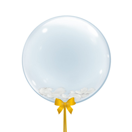"24"" Crystal Clear Feathers Filled Balloon with Ribbon Bow and Tail"