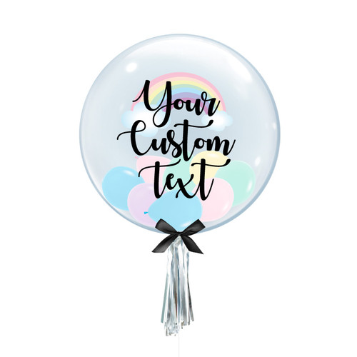 Personalised Rainbow Crystal Clear Transparent Balloon - Mini Macaron Pastel Matte Balloons Filled (Pastel Rainbow)