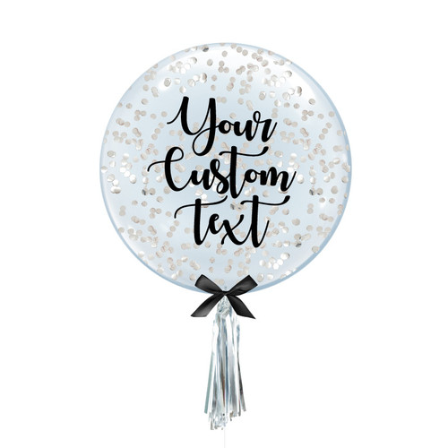 "24"" Personalised Crystal Clear Transparent Balloon - Round Confetti (1cm) Filled (5 Colors)"