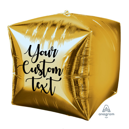 """15""""/38cm Personalised Cube Shaped Balloon - Gold"""