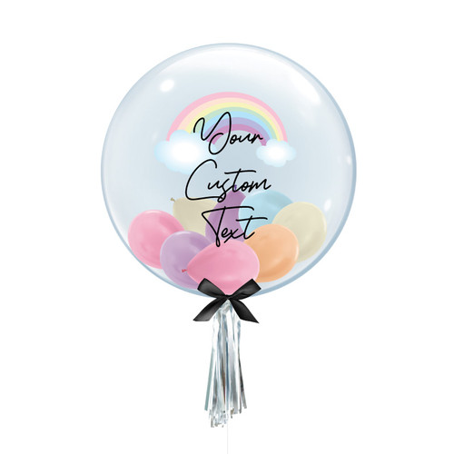 "24"" Personalised Rainbow Crystal Clear Transparent Balloon - Mini Metallic Balloons Filled (Pastel Rainbow)"