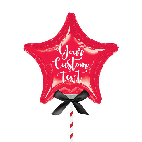 "9""/23cm Personalised Small Star Foil Balloon - Red"