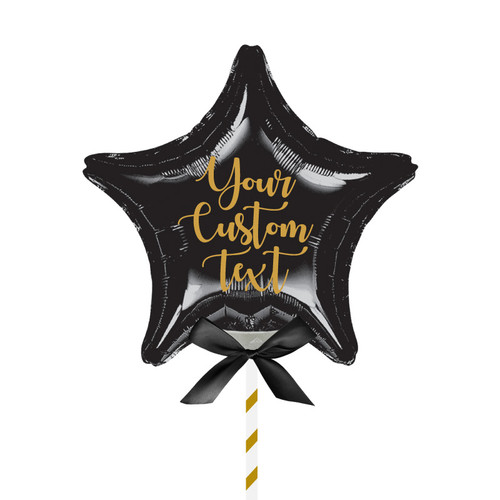 "9""/23cm Personalised Small Star Foil Balloon - Black"