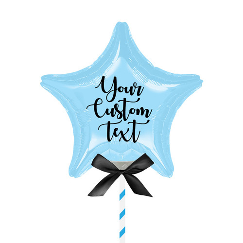 "9""/23cm Personalised Small Star Foil Balloon - Pastel Blue"