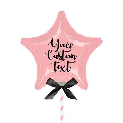 """9""""/23cm Personalised Small Star Foil Balloon - Pastel Pink"""