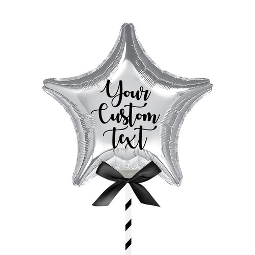 "9""/23cm Personalised Small Star Foil Balloon - Sliver"