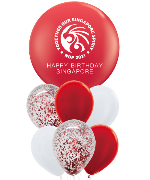 [Together, Our Singapore Spirit] Personalised Red Jumbo Latex Balloons Cluster - Lion's Courage