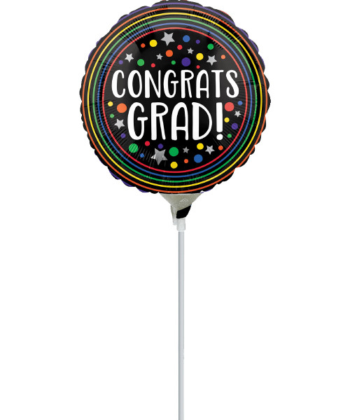 [Graduation Balloon on Stick] Congrats Grad Colorful Circles with stick (9inch