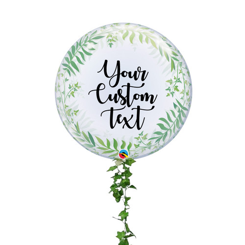 "24"" Personalised Crystal Clear Transparent Elegant Greenery Printed Balloon"