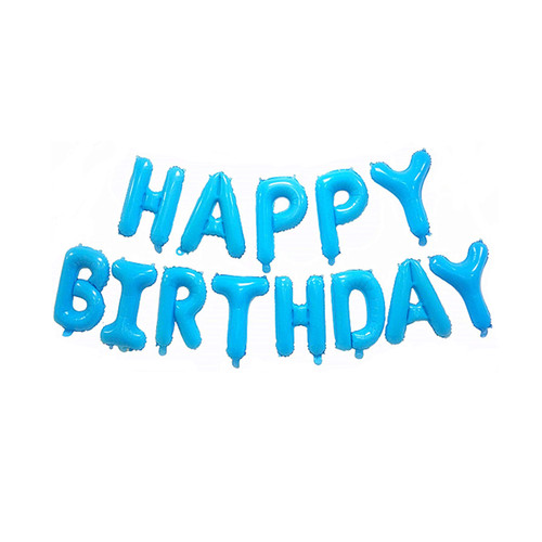 "[Birthday Pack] 16"" Happy Birthday Alphabet Foil Balloons Banner - Pastel Blue"