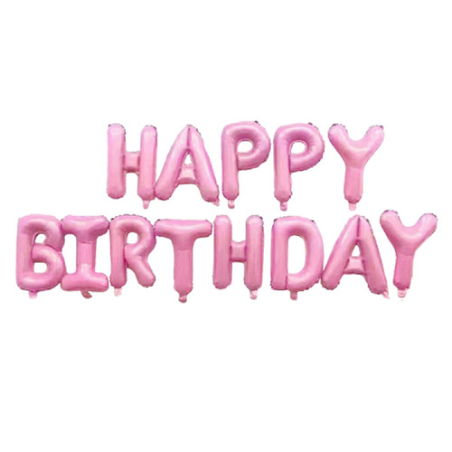 "[Birthday Pack] 16"" Happy Birthday Alphabet Foil Balloons Banner - Pastel Pink"