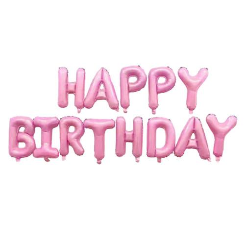 "[Birthday Pack] 16"" Happy Birthday Alphabet Foil Balloons Banner - Pastel Pink"