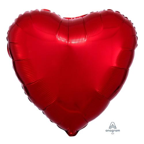 "18"" Heart Foil Balloon - Metallic Red"