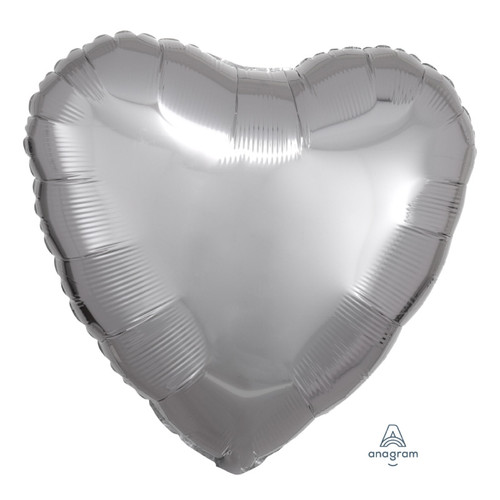 "18"" Heart Foil Balloon - Metallic Silver"