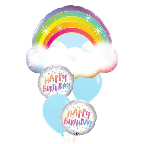 Happy Birthday Sparkling Rainbow Cloud Balloon Bouquet