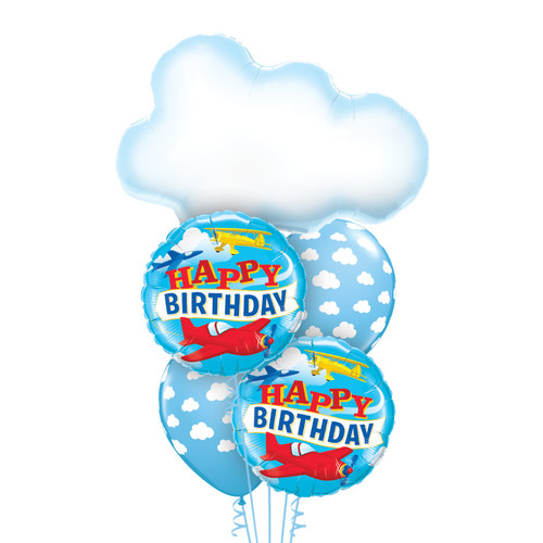 Flying High Above the Clouds Birthday Balloon Bouquet