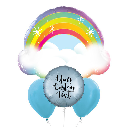 Personalised Sparkling Rainbow Cloud Balloon Bouquet
